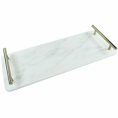 NEW White Oskar Marble Tray with Handle