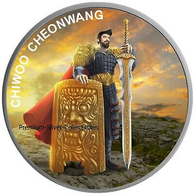 2019 South Korea Chiwoo Cheonwang - 1 Ounce Pure Silver and Colorized!!
