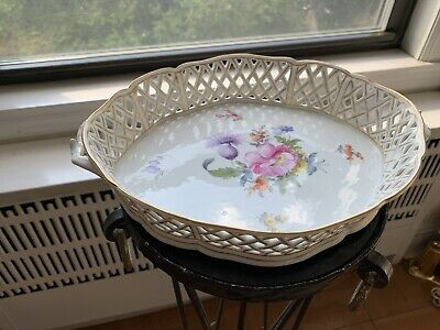 "Antique Nymphenburg Porcelain Large 11"" Reticulated Oval Tray"
