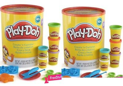 NEW Play-Doh Create N Canister Set 20xPlaydoh Tubs 45x Accessories RRP £34.99