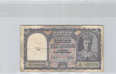 India 10 Rupees (1943) N° a / 620 140528 Pick 24