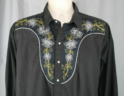 Rockmount Ranch Wear Western Shirt Medium 16.5 Embroidered Floral Black Pearl