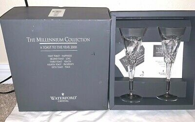Waterford Crystal Champagne Flutes, Millennium Collection Fifth Toast PEACE NEW