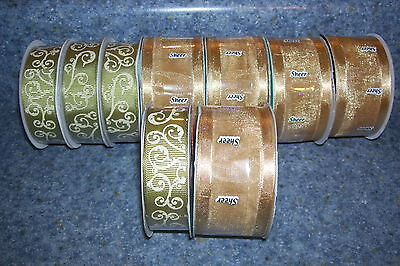 Lot Of 9 Bolts Of Ribbon, New