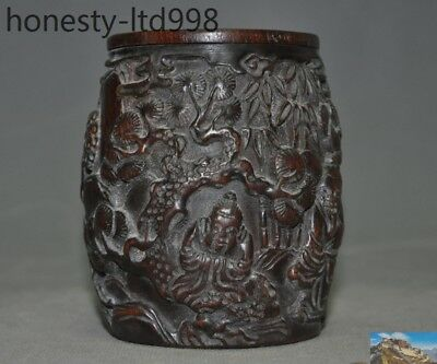 Marked Chinese Old Ox horn Carved Old man Pine Tree Statue Drum shape Box Boxes
