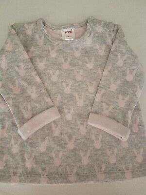 Seed Baby Girls Adorable Pink bunny's Top Size 00 BNWT
