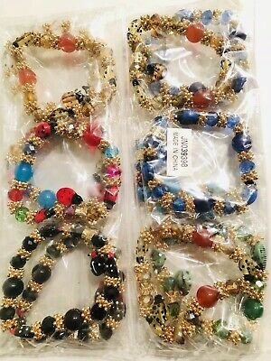 Wholesale 12 Pcs Mix Color Lots Rhinestone Multi Ladybug Charm Bracelet Set