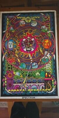 "Vtg 1974 SPECTRUM Flocked Blacklight Poster 23""x35"" Psychedelic Occult RARE 70s"