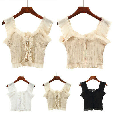 Fashion Sexy Ruffle Sleeveless Summer Crop Tops Women Camisole Shirts Decor