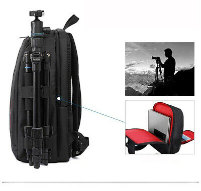 HUWANG DSLR Photo Camera Soft Bag Digital Laptop Backpack Pocket and Tripod Belt