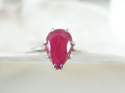 Vintage Mid Century Sterling Silver 925 Natural Ruby Solitaire Ring Size 8