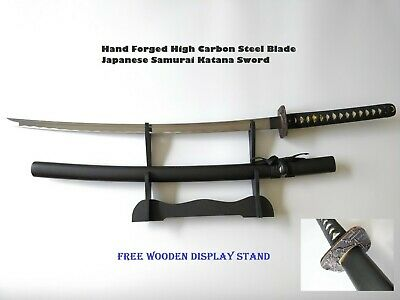 Hand Forged High Carbon Steel Blade Japanese Samurai Katana Sword W/FREE Stand