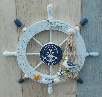 "11"" Nautical Wood anchor Boat Ship Steering Wheel Net Home Party Wall Decor US"
