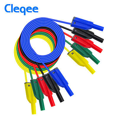 5PCS 4mm Safety Stackable Banana Plug Soft Silicone Cable High Voltage Test Lead