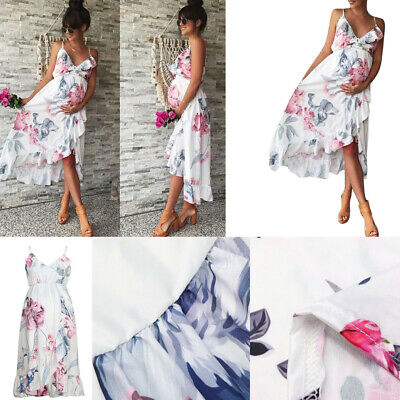 Summer Womens Mother Casual Floral Falbala Pregnant Dress For Maternity Clothes