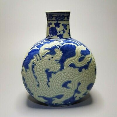 Chinese Antique 17th C Qing Dynasty DRAGON VASE Glaze Blue and White Porcelain