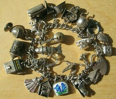 Vintage UK Sterling Silver Traditional Charm Bracelet 23 Charms 19 Open or Move!