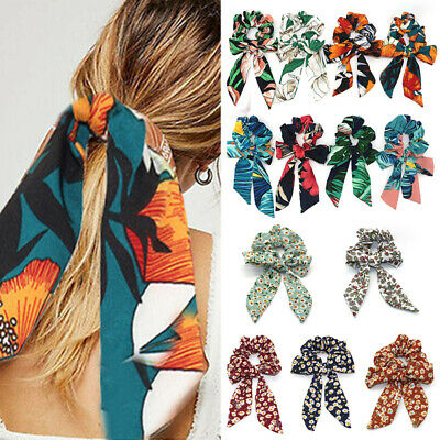 Ponytail Print Boho Scarf Tie Elastic Scrunchies Bow Ribbon Hair Bands Hair Rope