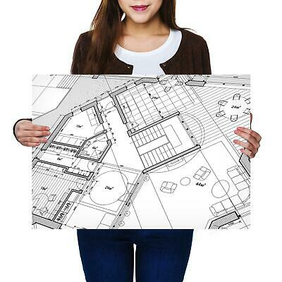 A2 | Architecture House Plans Size A2 Poster Print Photo Art Student Gift #2382