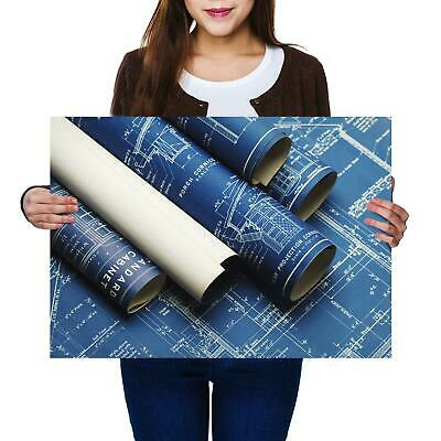A2 | Blue Print Construction - Size A2 Poster Print Photo Art Student Gift #2383