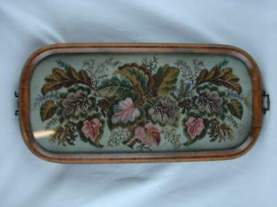Superb Antique Victorian Berlin Beadwork Tapestry, Framed Walnut & Glazed Tray,