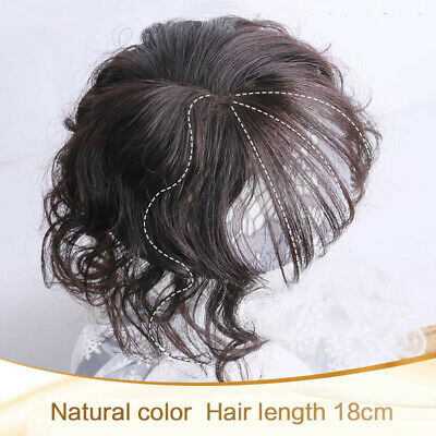 Women Wavy Curly Hairpiece Clip In Real Human Hair Top Topper Toupee Wigs Bang