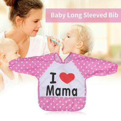 Kids Baby Toddler Infant Waterproof Long Sleeve Apron Feeding Smock Cartoon Bibs