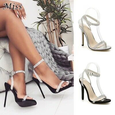Women Sexy Banquet Stiletto High Heels Sandals Metal Ring Buckle Peep Toe Shoes