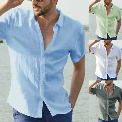 Mens Linen Short Sleeve Summer Solid Shirts Casual Loose Dress Soft Tops Tee UK