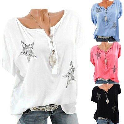 Women Ladies Fashion Button Five-pointed Star Hot Drill Plus Size Tops Blouse