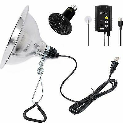 """150W Reptile Heat Bulb &Clamp Light 8"""" Reflector &Digital Thermostat Controller"""