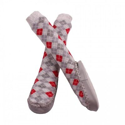 Minene Grey and Red Sock slippers (6-12 Months) - Warehouse Clearance