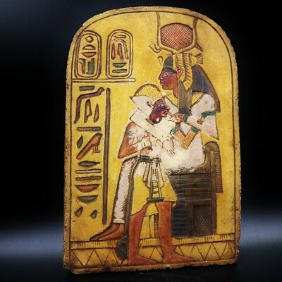 Wall Plaque Queen ISIS Nursing EGYPTIAN STELA FRAGMENT RELIEF Antique
