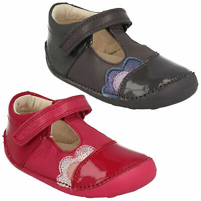 Girls Toddler Clarks Little Caz Hook & Loop Casual Leather Kids First Shoes Size