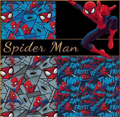 Spiderman 100% High Quality Cotton Fabric Fat Quarters / Half Metres / Metres