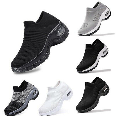 Women Mesh Breathable Air Cushion Slip On Trainers Sneakers Sport Running Shoes