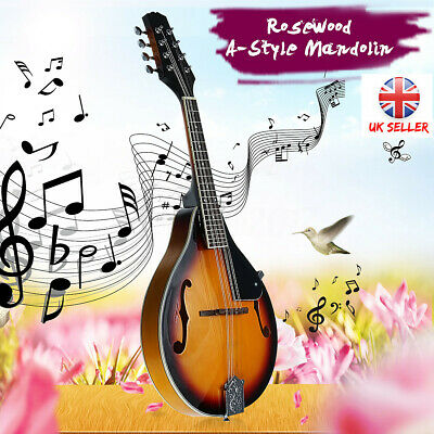 UK High Quality Wood Solid A-Style Sunburst Mandolin 8 String Guitar with