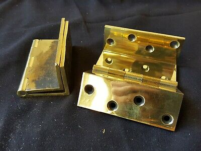 Reclaimed Antique 1 Pair of Brass Victorian Cranked Hinges (EB101)