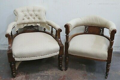 Pair Antique Upholstered Bedroom Fireside Nursing Chairs - 250
