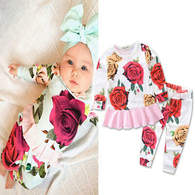 Ee_ Qa_ Spring Kids Baby Girl Outfits Cute Rose Long Sleeve Top Pullover Pants S