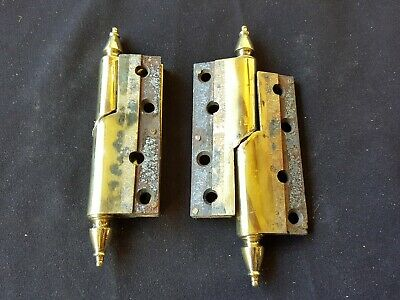 Reclaimed Antique Pair of Brass Victorian Rise & Fall Hinges (EB113)