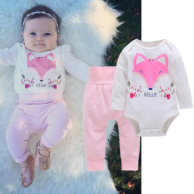 EE_ AM_ LK_ HK- Baby Girls Hello Fox Long Sleeve Pullover Romper Pants Outfits C