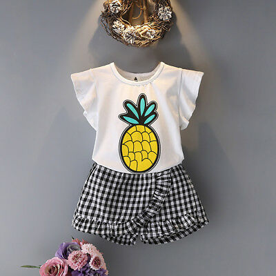 EE_ UK_ Kids Girls Lovely Pineapple T-shirt Plaid Culottes Shorts Outfits Set Sp