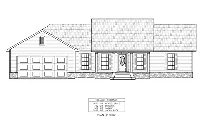 Ranch House Plans 1673 SF 3 Bed 2 Bath Split BR Front Garage (Blueprints) 1007GF
