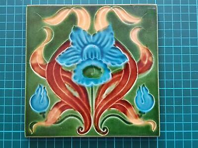 Vintage Majolica Art Nouveau Deco Blue Daffodil Embossed Tile Hand Painted
