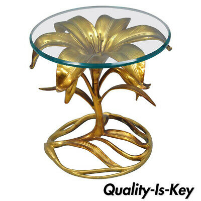 Arthur Court Hollywood Regency Gold Lily Leaf Flower Round Glass Top Side Table