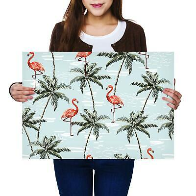 A2 | Tropical Flamingo Palm Tree Bird Size A2 Poster Print Photo Art Gift #2468