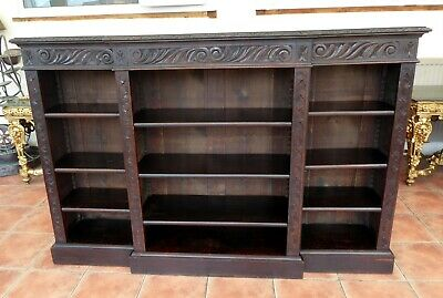 Country Oak Triple  Bookcase Carved Breakfront 1850 Free Shipping To England