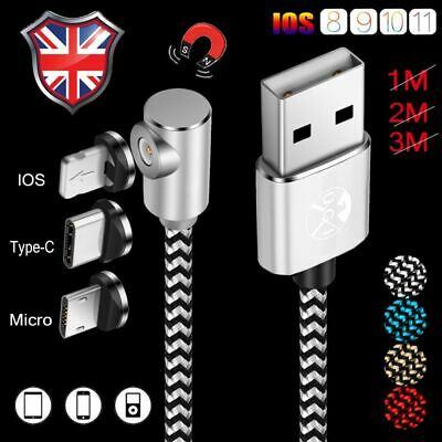UK 1M2M Magnetic Braided USB Cable For iPhone 5 6 7 8 Lightning Fast Charger Lot