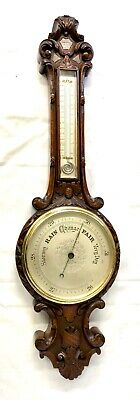 Antique Oak Carved Aneroid Banjo Barometer & Thermometer : Silvered Dials (c56)